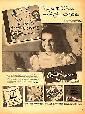 1945 vintage AD CAPITOL RECORDS Child Star Margaret O'Brien tells stories 021415