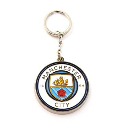 Man City Crest Keyring - One Size - Manchester Football Official Metal Fc New