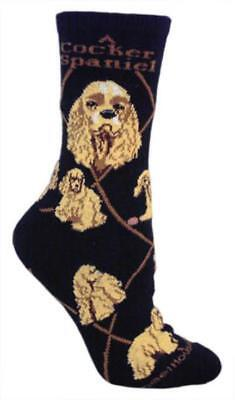 Adult Size Medium COCKER SPANIEL BLONDE Adult Socks/Black RETIRED COLOR