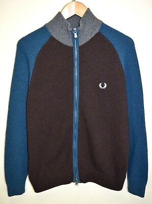 vtg FRED PERRY CASUALS WOOL ZIP CARDIGAN KNITTED JUMPER SWEATER MOD size SMALL