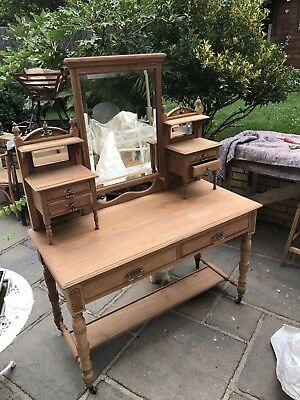 Antique Edwardian Mahogany Dressing Table Stripped Solid Wood  New Brassware
