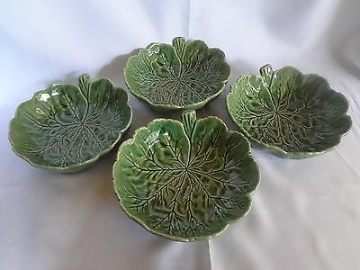 Bordallo Pinheiro -  Green Cabbage - Set of 4 Coupe Soup Bowls - Single Leaf