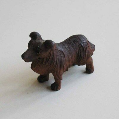 Dog Figurine Terrier Hand-Carved Wood Painted