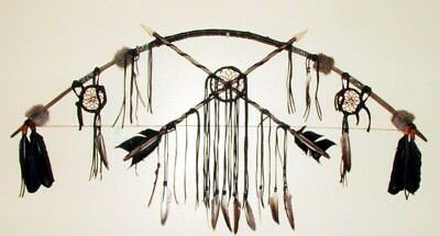 "48"" Bow & Arrow Wall Display w/ Dreamcatchers Native American made ND10"