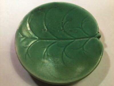 Antique Green Majolica Pond Lily Butter Pat attributed to George Jones, em219