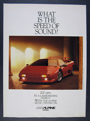 1990 alpine car audio Lamborghini Diablo red car photo vintage print Ad