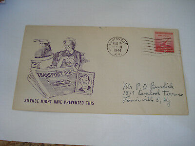 US WW II Patriotic military 1944 COVER LOUISVILLE KY P O Burdick SINK SHIPS !See