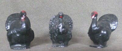 Antique Three Turkeys Metal Miniature Birds