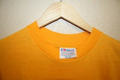 98bdac39603a Adult Hanes Blank T-Shirt 70s Single Stitch Small Yellow 50 50 Combed  Vintage