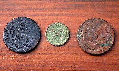 2 Very Old Russian Bronze Coins Dated 1700's Plus Extra Coin LOT #5