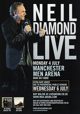 Neil Diamond - 2011 Tour Flyer -  Manchester Men Arena -  4Th & 6Th July.