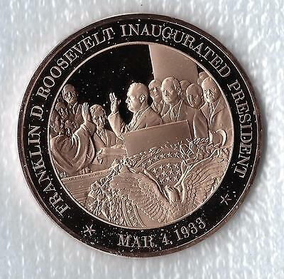 1933 Franklin D Solid Bronze Medal Roosevelt Inaugurated President