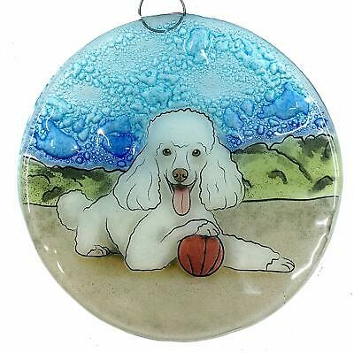 White Poodle Dog Fused Art Glass Ornament Ecuador WFTO Fair Trade
