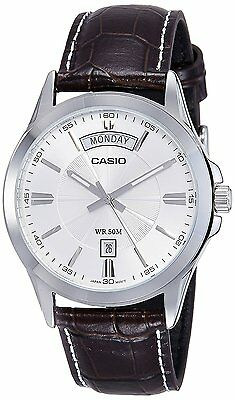 Casio MTP1381L-7A Men's Standard Leather Band Classic Silver Dial Day Date Watch