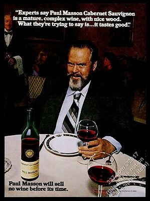 1980 Orson Welles photo Paul Masson No Wine Before Its Time vintage print ad
