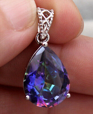 18K White Gold Filled - 16MM Blue Mystic Waterdrop Topaz Cocktail Lady Pendant