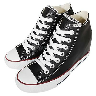 Converse Chuck Taylor All Star Lux Leather Black Womens Wedges Shoes 549559C