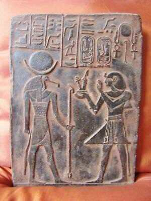 Antique Wall Plaque Ancient Egyptian Thoth Relief, God of the Moon,Magic,Writing