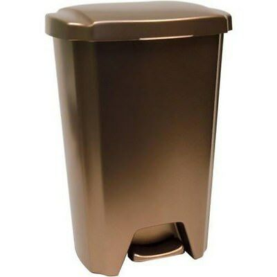 13-Gallon Trash Can Step-On Plastic Garbage Bin Bronze Kitchen Stainless Steel