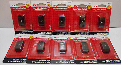 Lot of 10 Black Inline Wire Cord Lamp Switches for 16 or 18 Gauge SPT-2  6A-125V