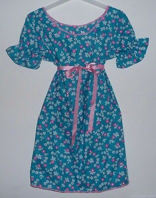 VINTAGE 1970s UNWORN GIRLS TURQUOISE & PINK FLORAL PATTERNED DRESS AGE 6-7 YEARS