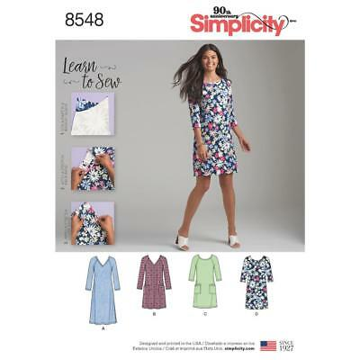 Simplicity Sewing Pattern Learn To Sew Misses Knit Dress Size 10 - 22 8548