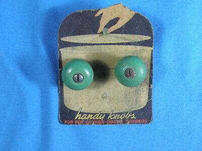 """Lot Of Two (2) Vintage Green Wooden """"Handy Knobs"""" - On Retail Card"""