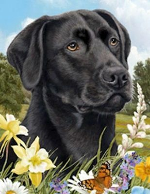 Beautiful LAB RETRIEVER BLACK Dog Summer Flowers Outdoor Garden Flag USA