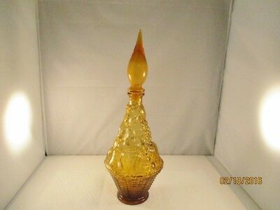 """Vintage Gold Glass Wine Decanter with Stopper - 15-1/2"""" tall"""