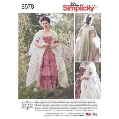 Simplicity Sewing Pattern Misses 18Th Century Costume Gown Size 4 - 22 8578