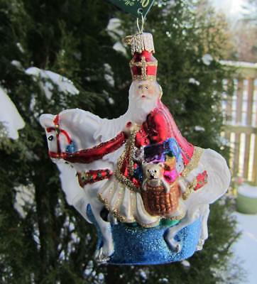 Holiday ST NICK SANTA ON HORSE Blown Glass Xmas Ornament Retired 2015
