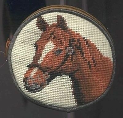 NP HORSE Brown Needlepoint Wool Coin Purse CLEARANCE