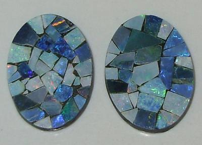 9.57ct Pair Australia Opal Mosaic Doublet Ovals 18x13mm SPECIAL