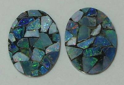 7.04ct Pair Australia Opal Mosaic Doublet Ovals 16x12mm SPECIAL