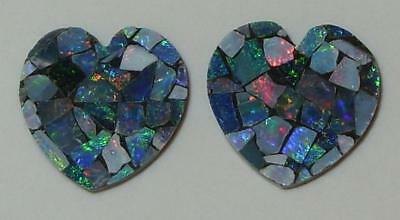 9.80ct Pair Australia Opal Mosaic Doublet Hearts 15mm SPECIAL