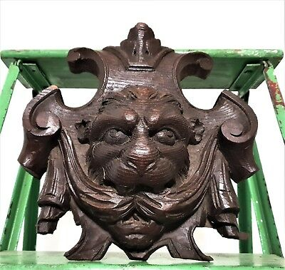 LION GRIFFIN HAND CARVED WOOD PEDIMENT ANTIQUE FRENCH OAK CARVING PANELLING 19th