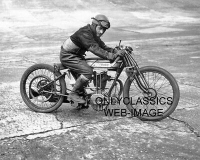 1925 Norton Motorcycle Racing 8X10 Photo Bert Denly High Bank Racer Isle Of Man