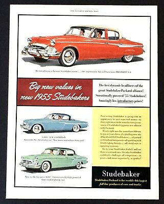 1955 Studebaker Advertisement President Champion Command Vintage Car Print AD