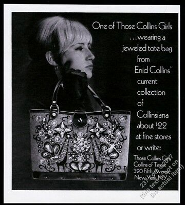 1967 Enid Collins tote bag purse jeweled peacock photo vintage print ad