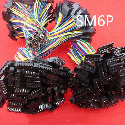 10sets JST 2.54 SM 6Pin 6P Connector plug Male & Female with 10cm Wires Cables