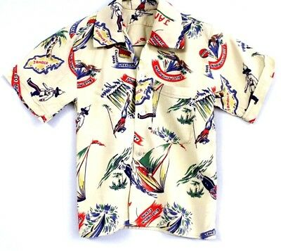 VTG 1940s Rare Boys Rayon  Novelty Picture Shirt Jamaica  Map Marlins Rum 6?