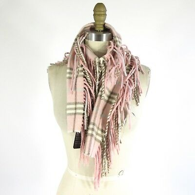 BURBERRY LONDON Classic PINK 100% CASHMERE Fringe Scarf 0314PM