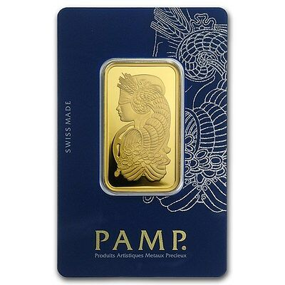 1 Ounce Pamp Suisse .9999 Fine Gold Bar Lady Fortuna 1oz. with Veriscan