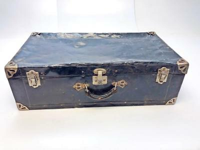 Vintage BLACK METAL TRUNK storage carry case rustic briefcase chest crate box