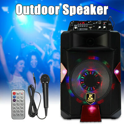 Portable 8 INCH Bluetooth PA Speaker System DJ Power Amplifier TF USB AUX Input