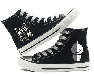 Kpop BTS BT21 RJ High top Canvas Flat Unisex Men Woman Causal Fashion Shoes