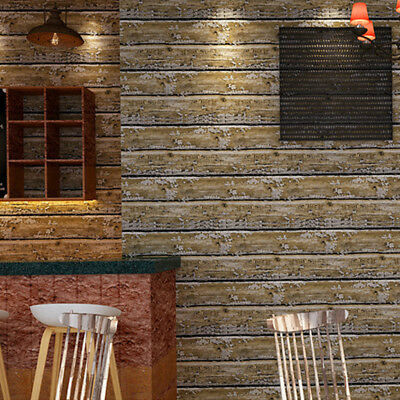 10M Vintage Retro 3D Wood Wallpaper Living room TV Background Wall Personality