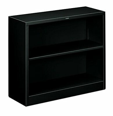 HON Metal Bookcase - Bookcase with Two Shelves, 34-1/2w x 12-5/8d x 29h, Black