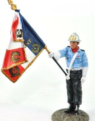 Firefighter Figurine Fireman French Flag Bearer 2001 Metal Del Prado 1/32 2.75""