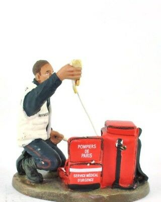 Firefighter Figurine Fireman Ambulance Man France 2003 Metal Del Prado 2.36""